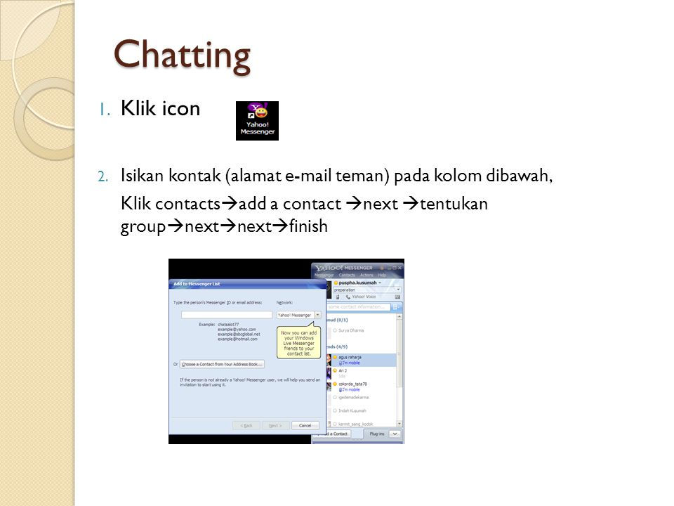 Chatting 1. Klik icon 2.