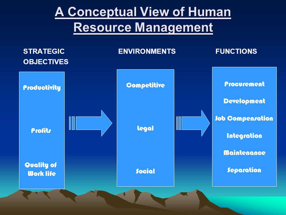 A Conceptual View of Human Resource Management STRATEGIC ENVIRONMENTS FUNCTIONS OBJECTIVES Productivity Profits Quality of Work life Competitive Legal Social Procurement Development Job Compensation Integration Maintenance Separation