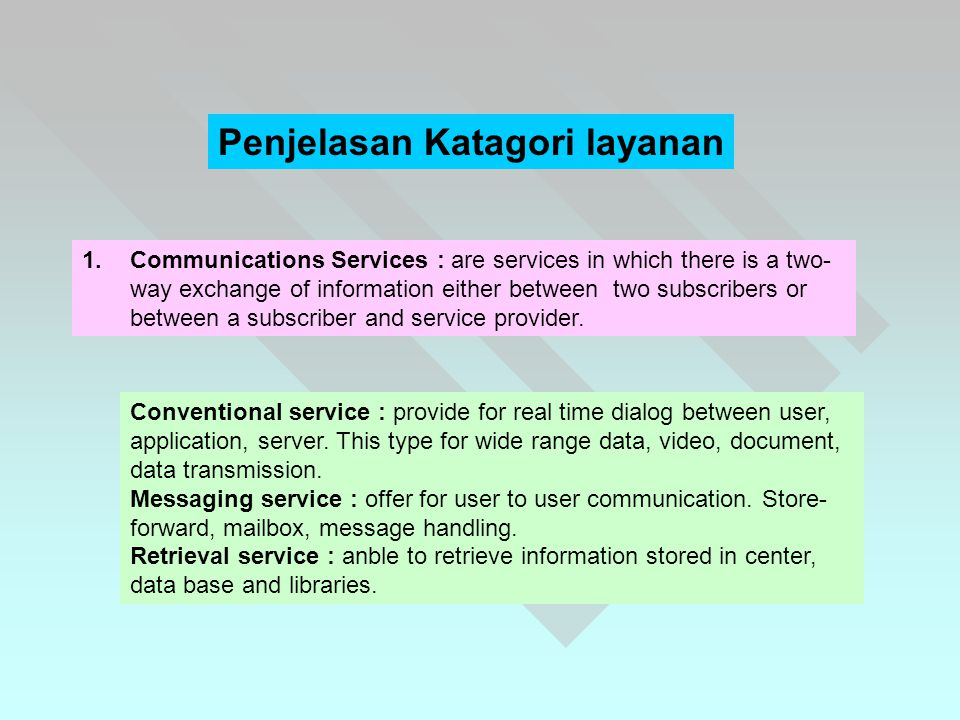 1.Communications Services : are services in which there is a two- way exchange of information either between two subscribers or between a subscriber and service provider.