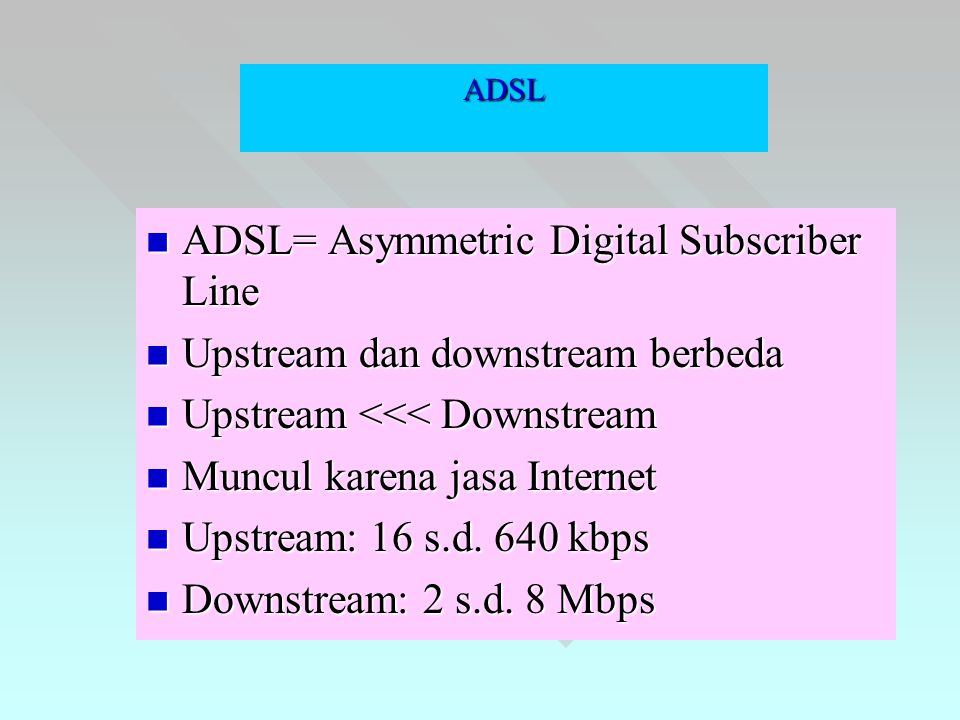 ADSL  ADSL= Asymmetric Digital Subscriber Line  Upstream dan downstream berbeda  Upstream <<< Downstream  Muncul karena jasa Internet  Upstream: 16 s.d.