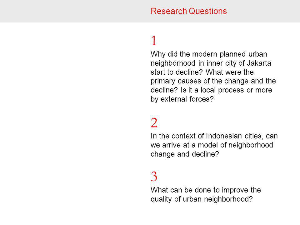 Research Questions 1 Why did the modern planned urban neighborhood in inner city of Jakarta start to decline.