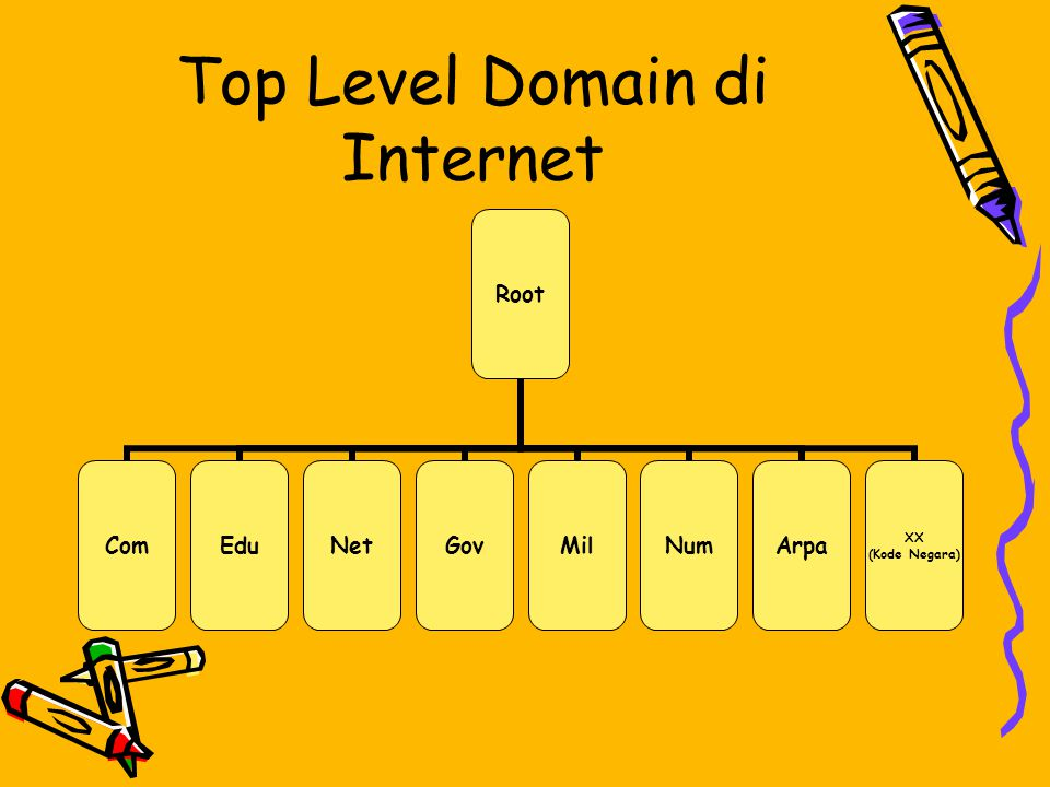 Top Level Domain di Internet Root ComEduNetGovMilNumArpa XX (Kode Negara)