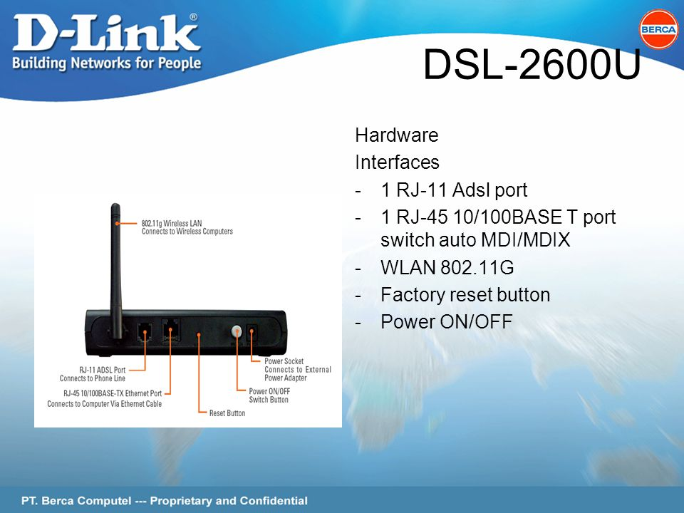 Page 5 of 62 DSL-2600U Hardware Interfaces -1 RJ-11 Adsl port -1 RJ-45 10/100BASE T port switch auto MDI/MDIX -WLAN 802.11G -Factory reset button -Power ON/OFF