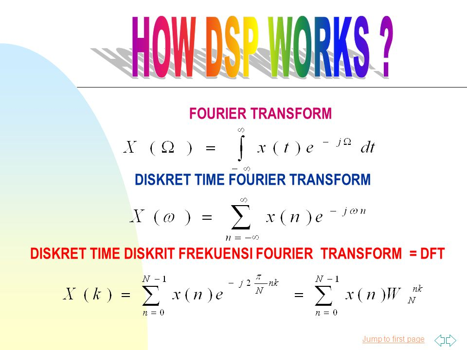 Jump to first page FOURIER TRANSFORM DISKRET TIME FOURIER TRANSFORM DISKRET TIME DISKRIT FREKUENSI FOURIER TRANSFORM = DFT