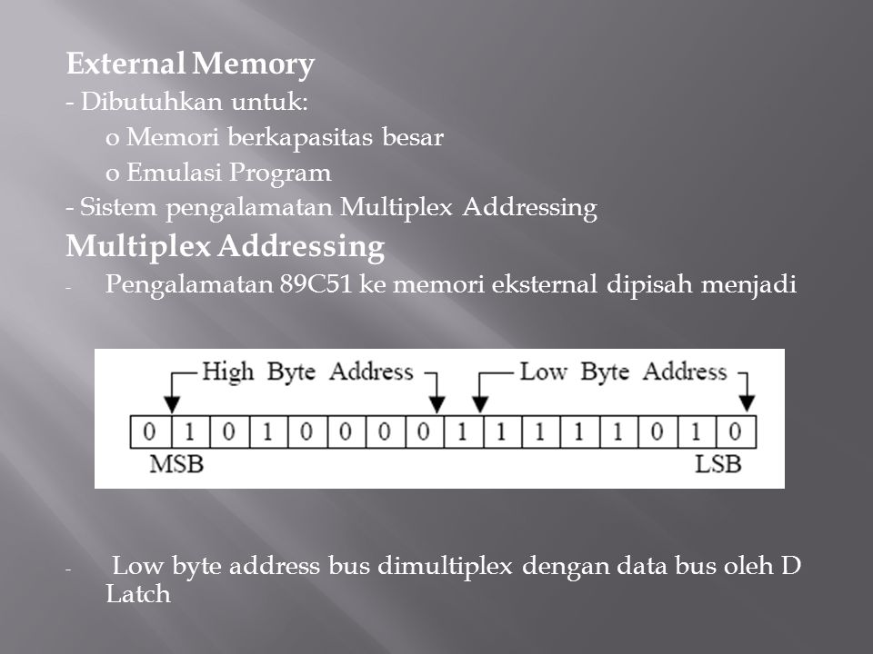 External Memory - Dibutuhkan untuk: o Memori berkapasitas besar o Emulasi Program - Sistem pengalamatan Multiplex Addressing Multiplex Addressing - Pengalamatan 89C51 ke memori eksternal dipisah menjadi - Low byte address bus dimultiplex dengan data bus oleh D Latch