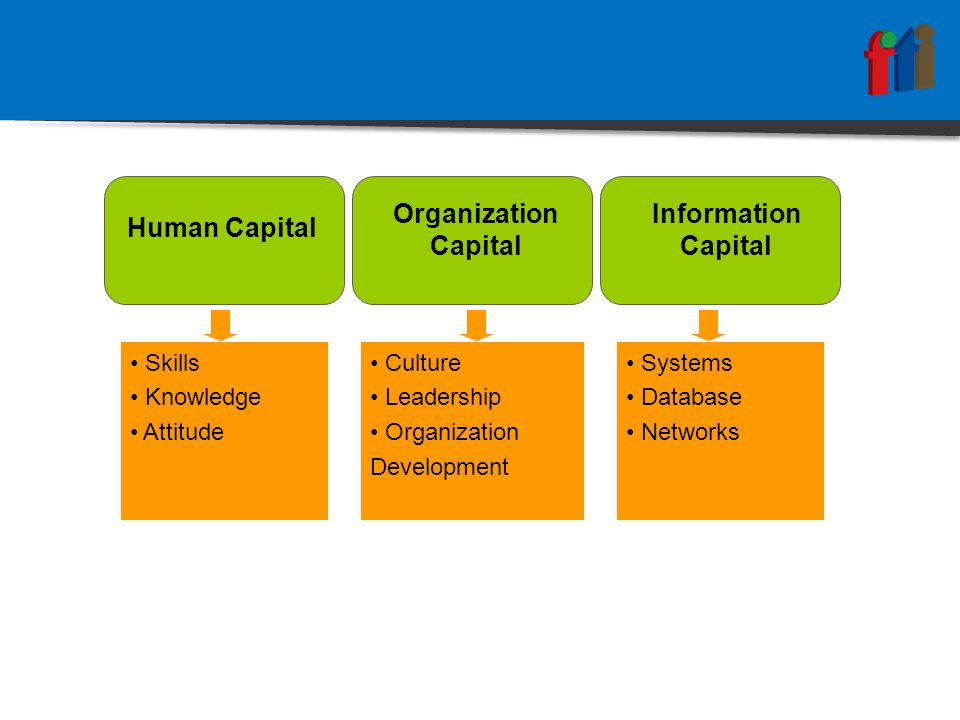 Human Capital Organization Capital Information Capital • Skills • Knowledge • Attitude • Systems • Database • Networks • Culture • Leadership • Organization Development