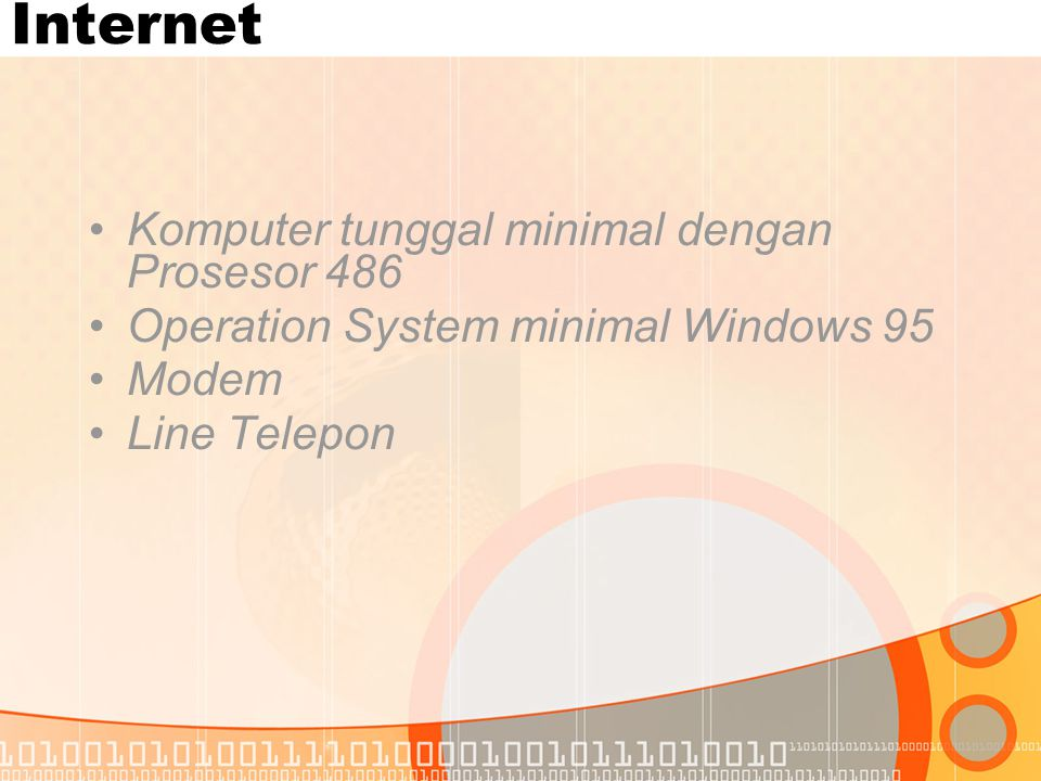 Internet •Komputer tunggal minimal dengan Prosesor 486 •Operation System minimal Windows 95 •Modem •Line Telepon