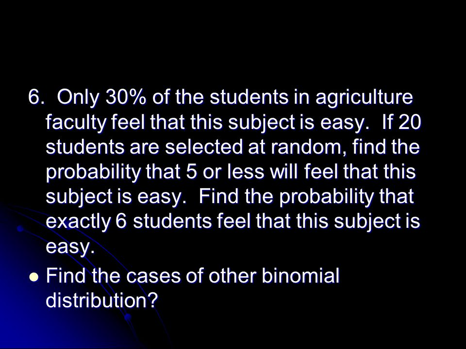 6. Only 30% of the students in agriculture faculty feel that this subject is easy.