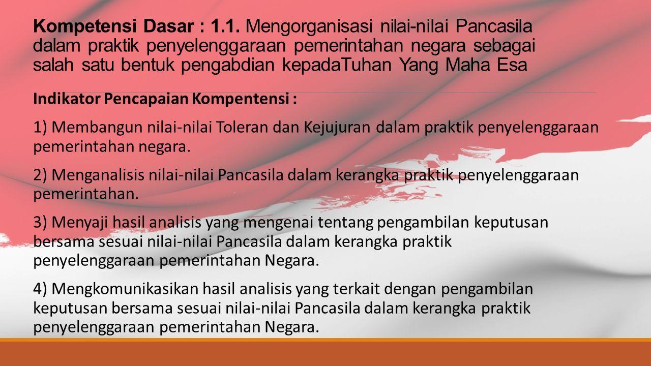 Nilai Nilai Pancasila Dalam Kerangka Praktik Penyelenggaraan Pemerintahan Negara Bab 1 Sma Daniel Creative School Hari Arbi Nugroho M Pd Ppt Download