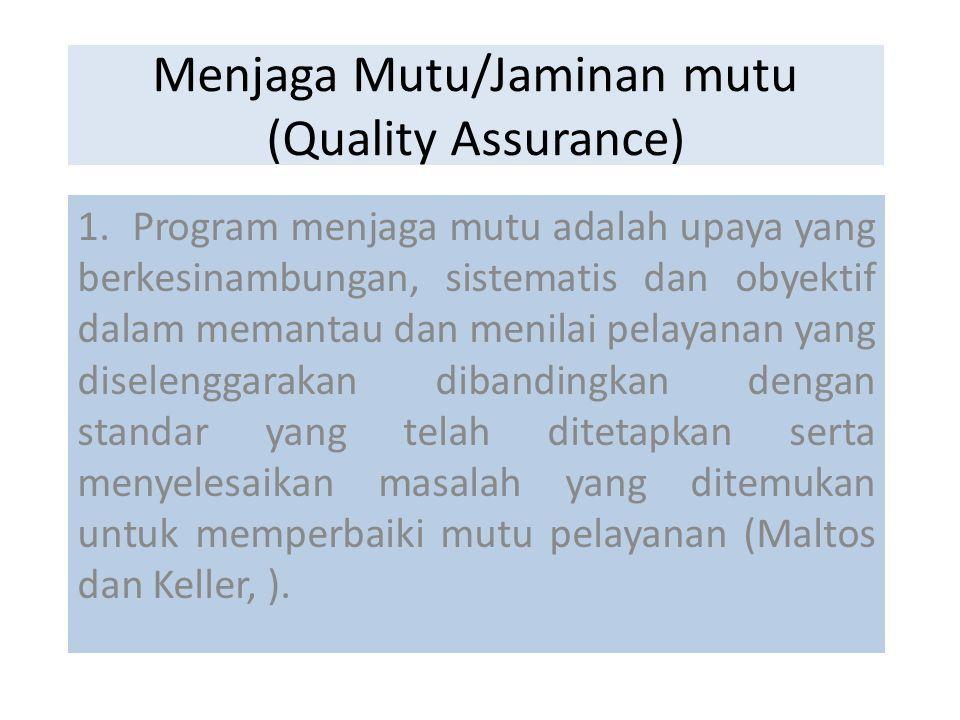 Menjaga Mutu Jaminan Mutu Quality Assurance 1 Program Menjaga Mutu Adalah Upaya Yang Berkesinambungan Sistematis Dan Obyektif Dalam Memantau Dan Menilai Ppt Download