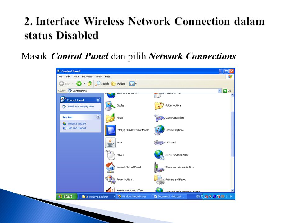 Masuk Control Panel dan pilih Network Connections