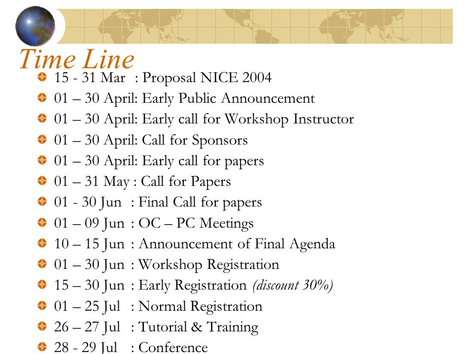 Time Line 15 - 31 Mar : Proposal NICE 2004 01 – 30 April: Early Public Announcement 01 – 30 April: Early call for Workshop Instructor 01 – 30 April: Call for Sponsors 01 – 30 April: Early call for papers 01 – 31 May : Call for Papers 01 - 30 Jun : Final Call for papers 01 – 09 Jun: OC – PC Meetings 10 – 15 Jun : Announcement of Final Agenda 01 – 30 Jun : Workshop Registration 15 – 30 Jun : Early Registration (discount 30%) 01 – 25 Jul : Normal Registration 26 – 27 Jul : Tutorial & Training 28 - 29 Jul : Conference