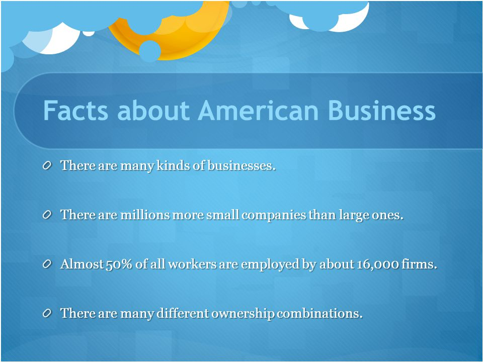 Facts about American Business There are many kinds of businesses.