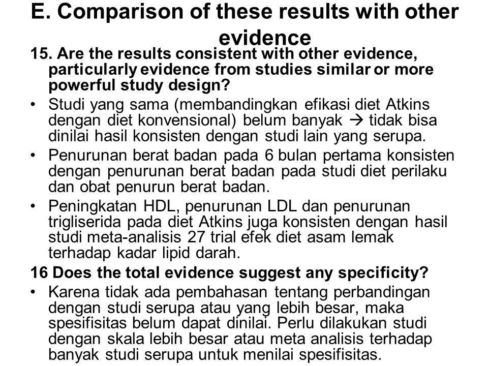 E. Comparison of these results with other evidence 15.