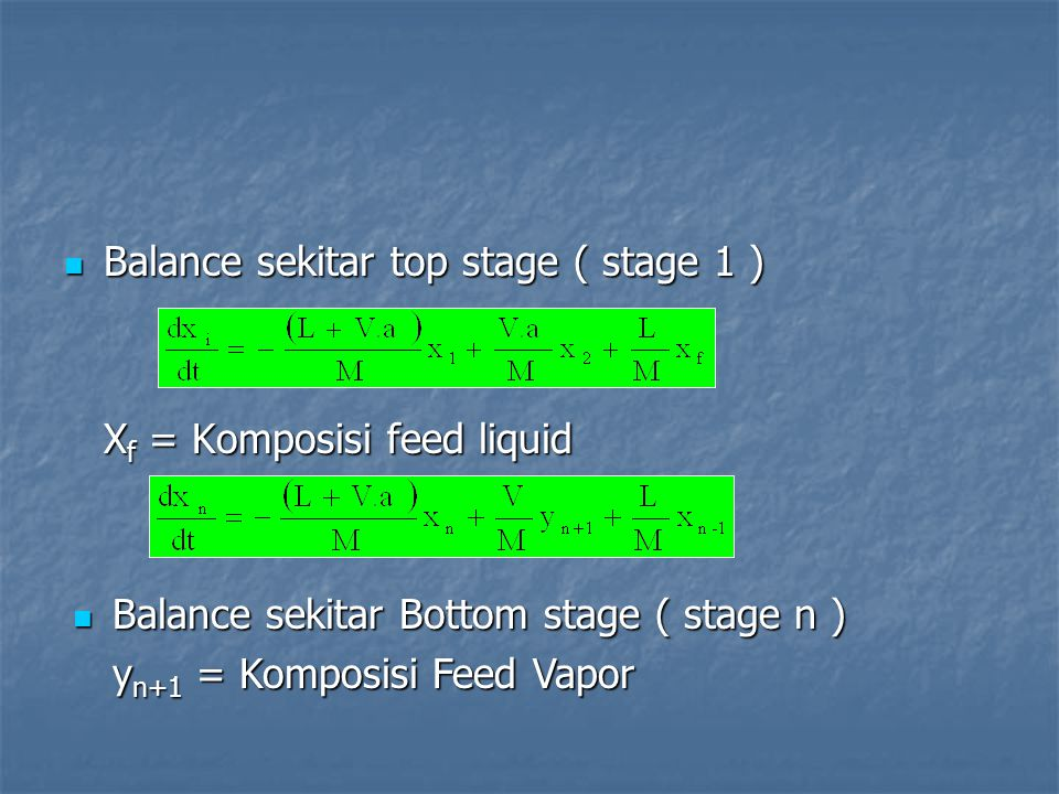 Balance sekitar top stage ( stage 1 ) Balance sekitar top stage ( stage 1 ) X f = Komposisi feed liquid Balance sekitar Bottom stage ( stage n ) Balance sekitar Bottom stage ( stage n ) y n+1 = Komposisi Feed Vapor