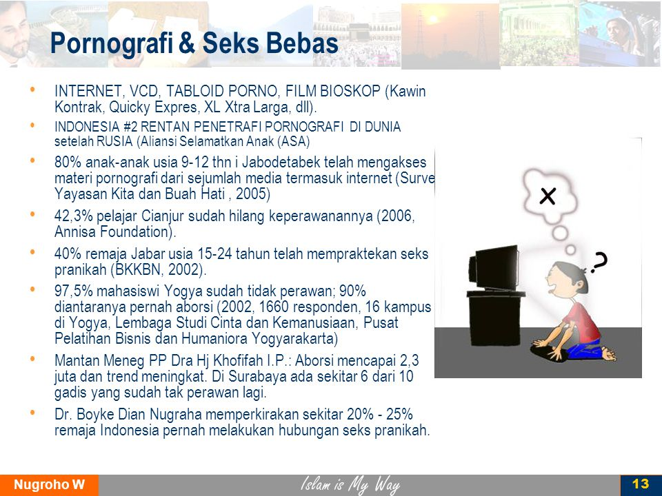 Islam is My Way Nugroho W 13 Pornografi & Seks Bebas INTERNET, VCD, TABLOID PORNO, FILM BIOSKOP (Kawin Kontrak, Quicky Expres, XL Xtra Larga, dll).