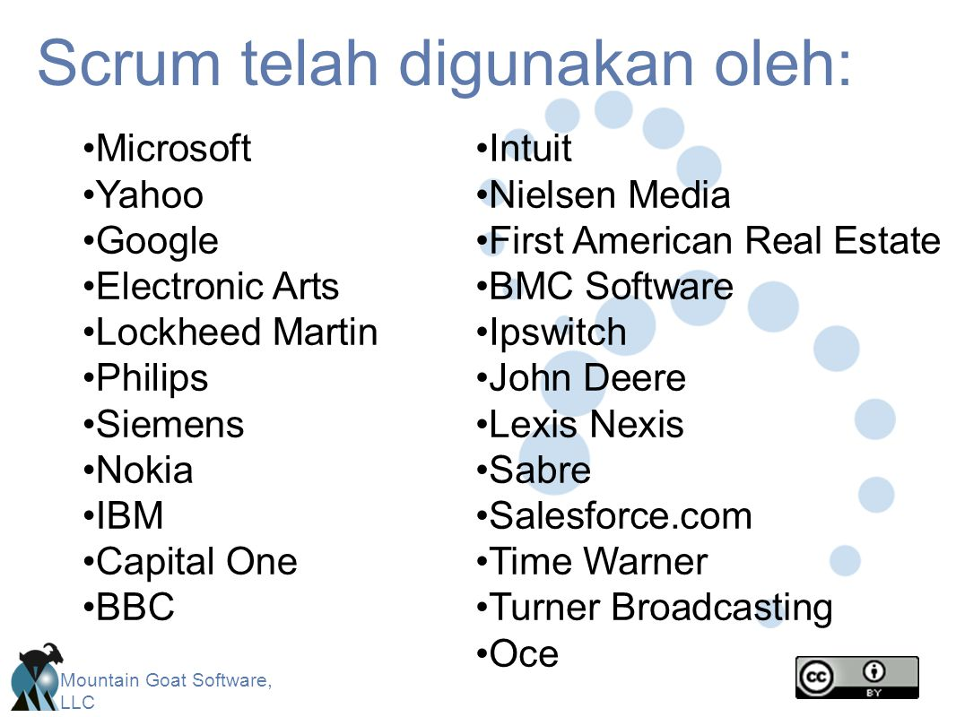 Mountain Goat Software, LLC Scrum telah digunakan oleh: Microsoft Yahoo Google Electronic Arts Lockheed Martin Philips Siemens Nokia IBM Capital One BBC Intuit Nielsen Media First American Real Estate BMC Software Ipswitch John Deere Lexis Nexis Sabre Salesforce.com Time Warner Turner Broadcasting Oce