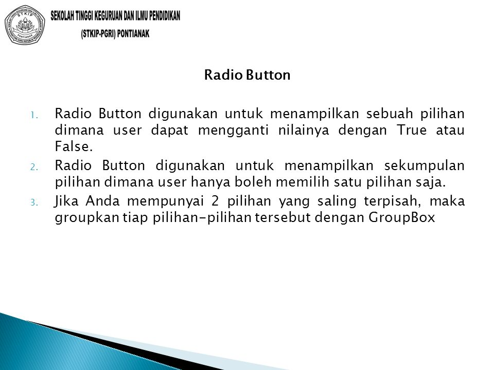 Radio Button 1.