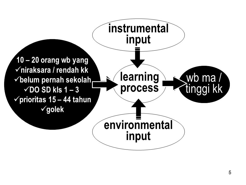 5 learning process output raw input instrumental input environmental input 10 – 20 orang wb yang niraksara / rendah kk belum pernah sekolah DO SD kls 1 – 3 prioritas 15 – 44 tahun golek wb ma / tinggi kk