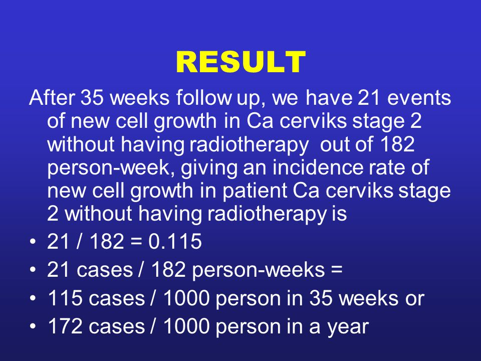 RESULT After 35 weeks follow up, we have 21 events of new cell growth in Ca cerviks stage 2 without having radiotherapy out of 182 person-week, giving an incidence rate of new cell growth in patient Ca cerviks stage 2 without having radiotherapy is 21 / 182 = 0.115 21 cases / 182 person-weeks = 115 cases / 1000 person in 35 weeks or 172 cases / 1000 person in a year