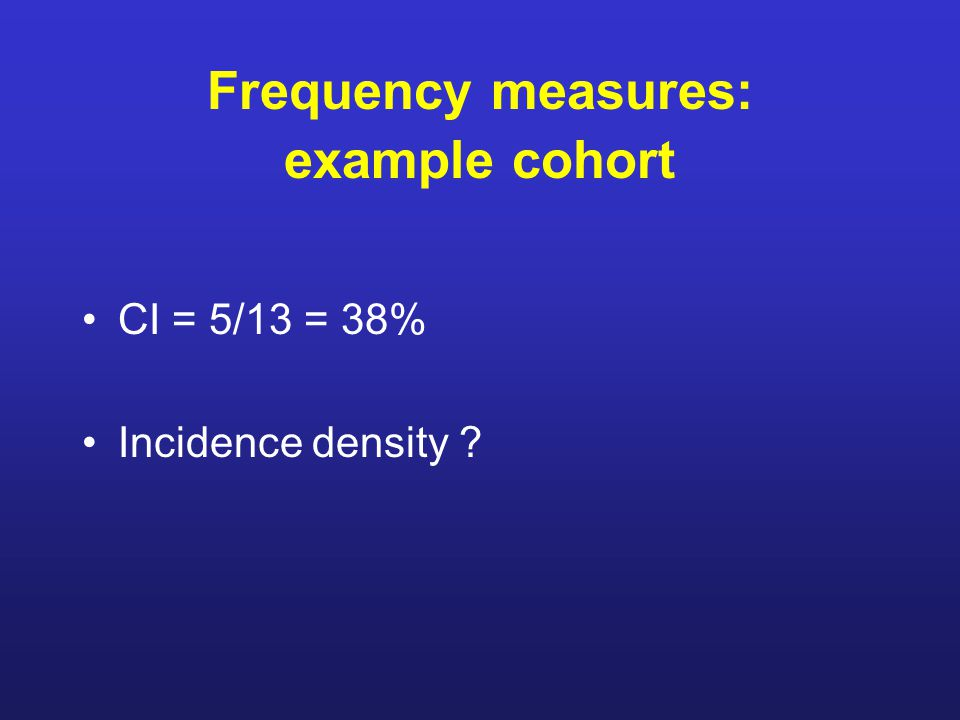 Frequency measures: example cohort CI = 5/13 = 38% Incidence density