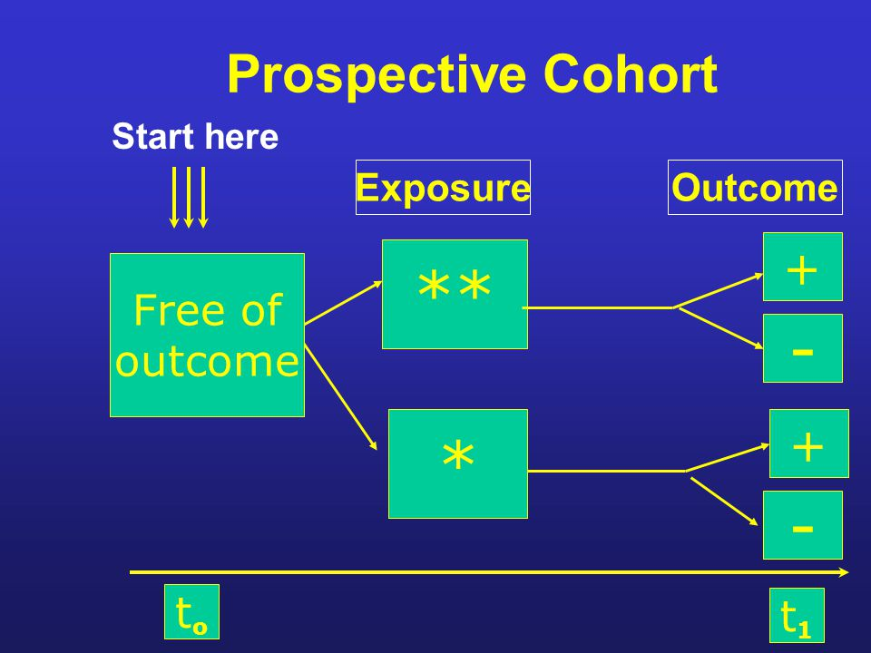 Prospective Cohort Start here ** * + - + - toto t1t1 Free of outcome ExposureOutcome