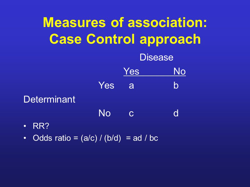 Measures of association: Case Control approach Disease YesNo Yes ab Determinant No cd RR.