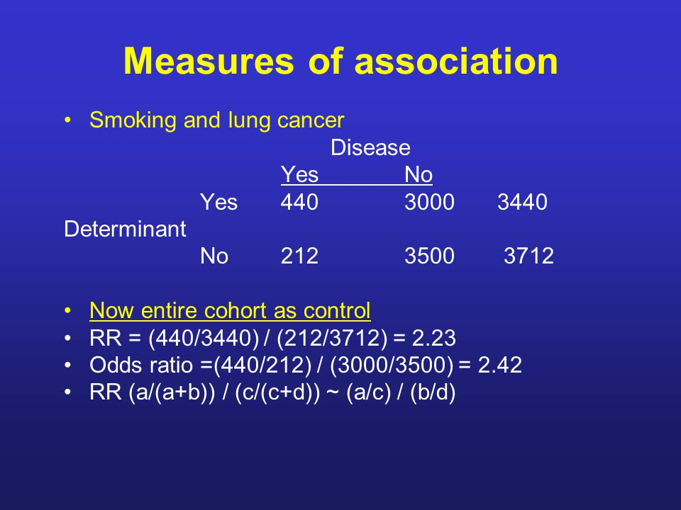 Measures of association Smoking and lung cancer Disease Yes No Yes 4403000 3440 Determinant No 2123500 3712 Now entire cohort as control RR = (440/3440) / (212/3712) = 2.23 Odds ratio =(440/212) / (3000/3500) = 2.42 RR (a/(a+b)) / (c/(c+d)) ~ (a/c) / (b/d)