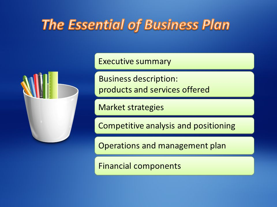 Executive summary Executive summary Business description: products and services offered Business description: products and services offered Market strategies Market strategies Competitive analysis and positioning Competitive analysis and positioning Operations and management plan Operations and management plan Financial components Financial components