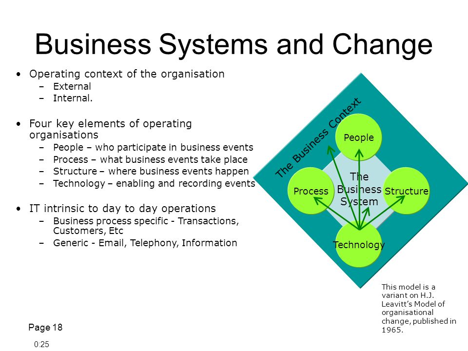 Business Systems and Change Page 18 ProcessStructure People Technology The Business System The Business Context Operating context of the organisation –External –Internal.