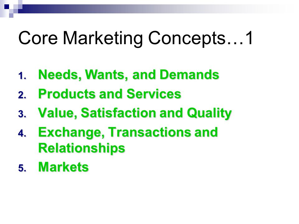 Core Marketing Concepts…1 1. Needs, Wants, and Demands 2.