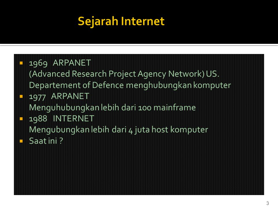  1969 ARPANET (Advanced Research Project Agency Network) US.