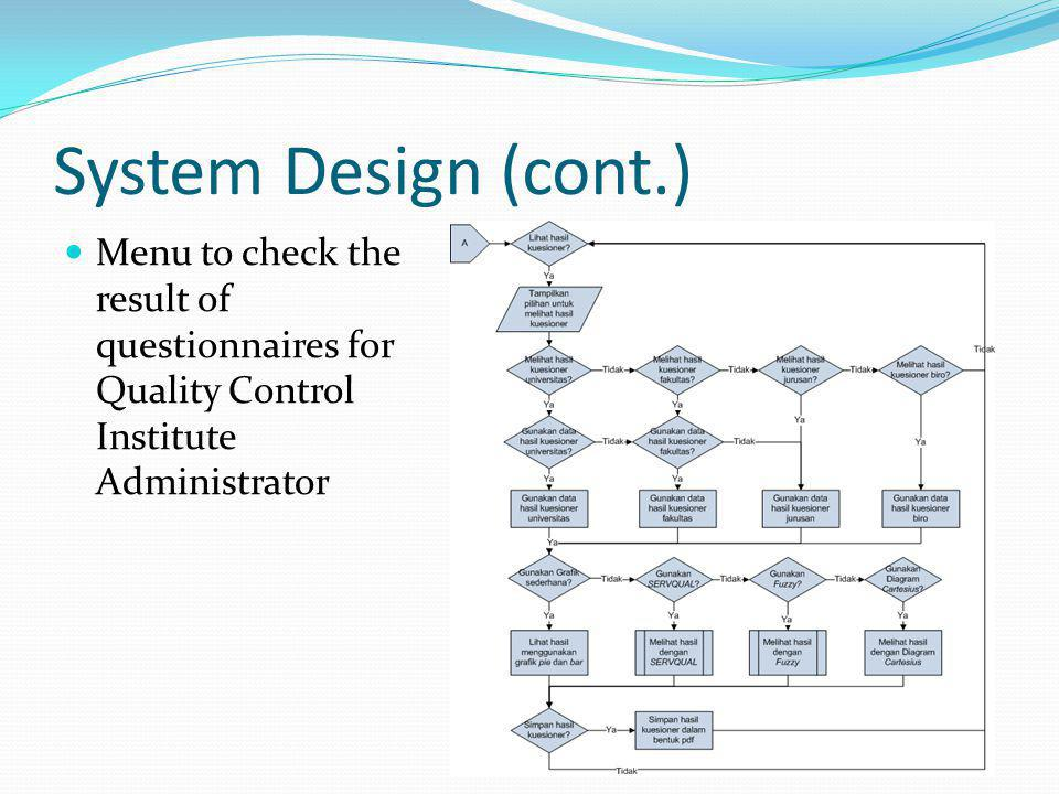 Denny gunawan introduction background goals problems scope and 12 system design cont menu to check the result of questionnaires for quality control institute administrator ccuart