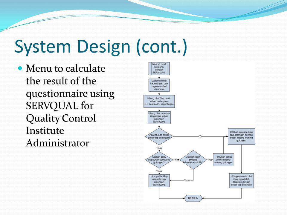 Denny gunawan introduction background goals problems scope and menu to calculate the result of the questionnaire using servqual for quality control institute administrator ccuart Gallery