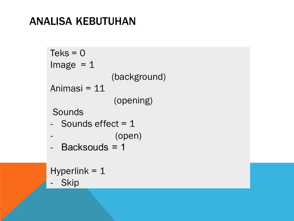 ANALISA KEBUTUHAN Teks = 0 Image = 1 (background) Animasi = 11 (opening) Sounds - Sounds effect = 1 - (open) - Backsouds = 1 Hyperlink = 1 - Skip