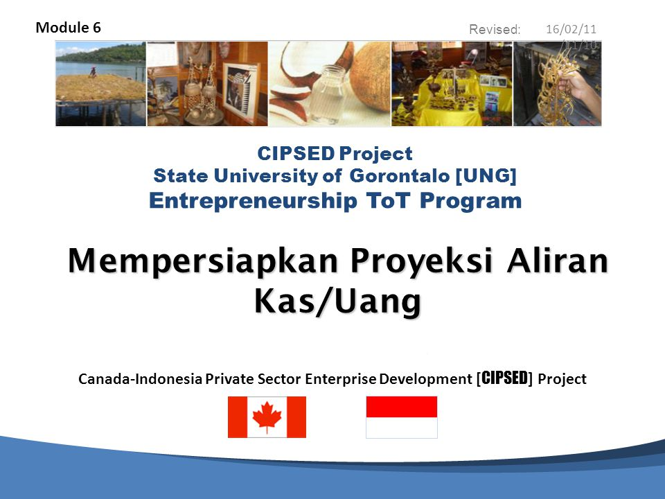 Canada-Indonesia Private Sector Enterprise Development [ CIPSED ] Project CIPSED Project State University of Gorontalo [UNG] Entrepreneurship ToT Program Revised: Mempersiapkan Proyeksi Aliran Kas/Uang Module 6 16/02/11 /11/10
