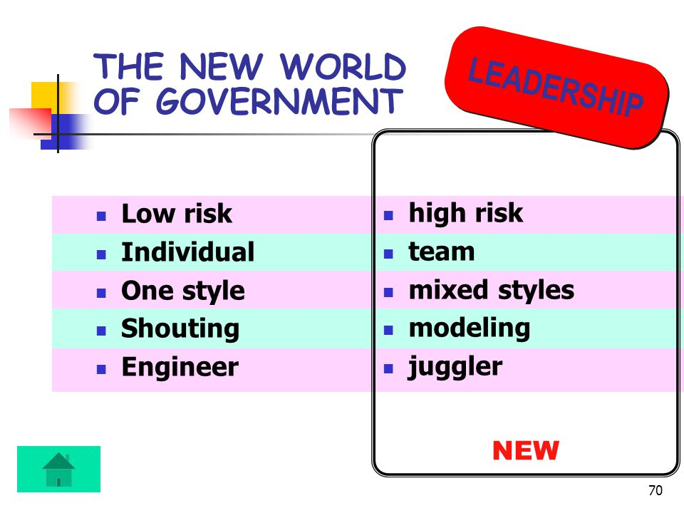 70 THE NEW WORLD OF GOVERNMENT Low risk Individual One style Shouting Engineer high risk team mixed styles modeling juggler NEW LEADERSHIP