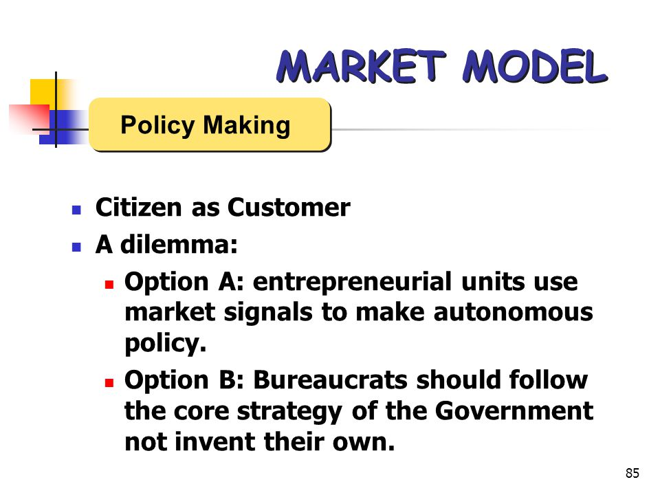 85 MARKET MODEL Citizen as Customer A dilemma: Option A: entrepreneurial units use market signals to make autonomous policy.