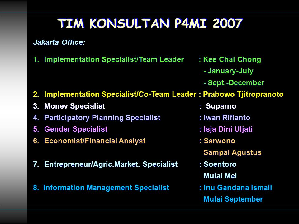 TIM KONSULTAN P4MI 2007 Jakarta Office: 1.Implementation Specialist/Team Leader : Kee Chai Chong - January-July - Sept.-December 2.Implementation Specialist/Co-Team Leader : Prabowo Tjitropranoto 3.Monev Specialist : Suparno 4.Participatory Planning Specialist : Iwan Rifianto 5.Gender Specialist : Isja Dini Uljati 6.Economist/Financial Analyst : Sarwono Sampai Agustus 7.Entrepreneur/Agric.Market.