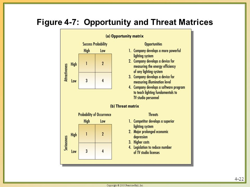Copyright © 2003 Prentice-Hall, Inc. 4-22 Figure 4-7: Opportunity and Threat Matrices