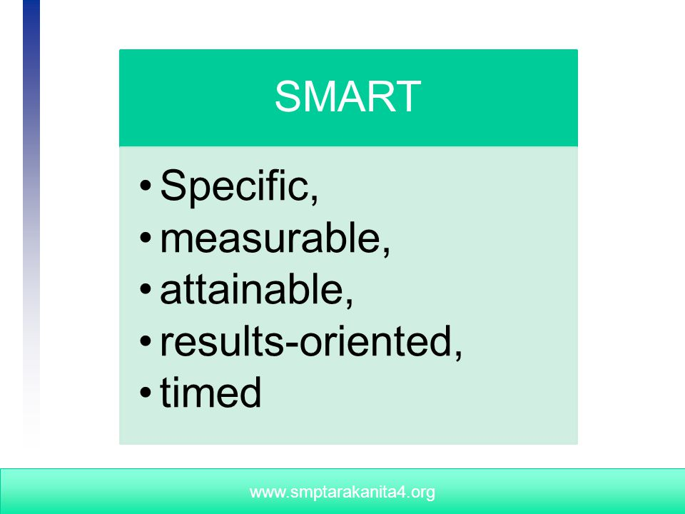 University of Wisconsin - Extension, Cooperative Extension, Program Development and Evaluation www.smptarakanita4.org SMART Specific, measurable, attainable, results-oriented, timed