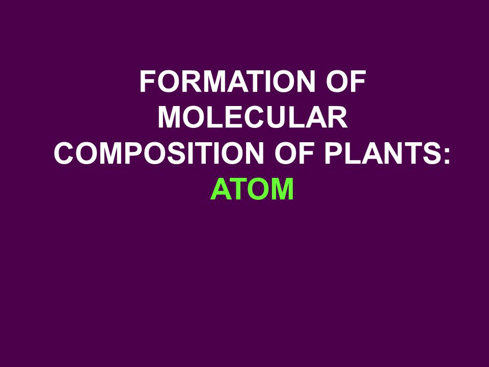 FORMATION OF MOLECULAR COMPOSITION OF PLANTS: ATOM