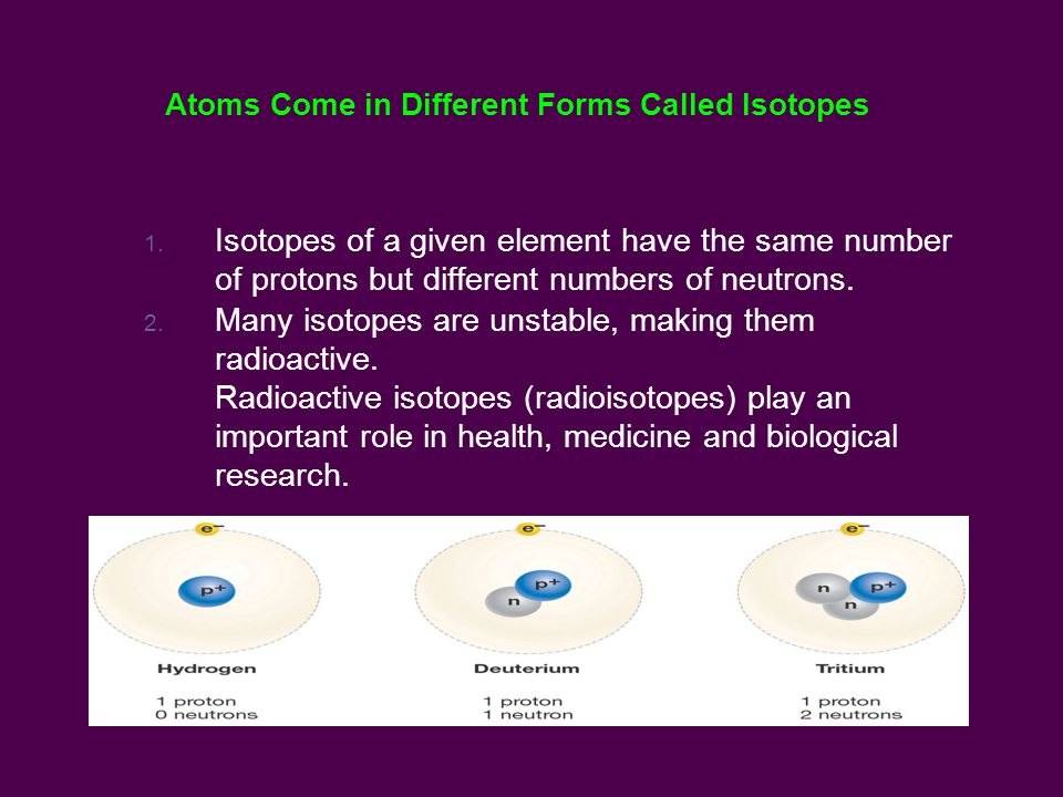 Atoms Come in Different Forms Called Isotopes 1.