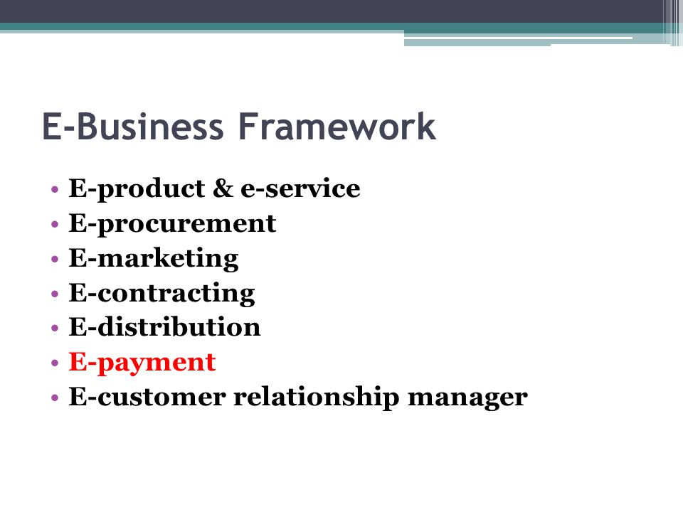 E-Business Framework E-product & e-service E-procurement E-marketing E-contracting E-distribution E-payment E-customer relationship manager