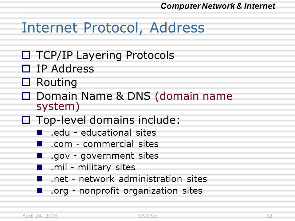 April 24, 2008SA/DSE32 Internet Protocol, Address  TCP/IP Layering Protocols  IP Address  Routing  Domain Name & DNS (domain name system)  Top-level domains include:.edu - educational sites.com - commercial sites.gov - government sites.mil - military sites.net - network administration sites.org - nonprofit organization sites Computer Network & Internet