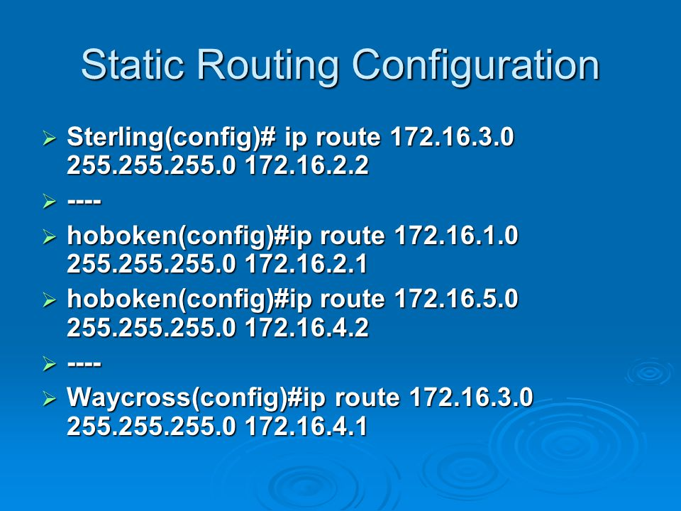 Static Routing Configuration  Sterling(config)# ip route  ----  hoboken(config)#ip route  hoboken(config)#ip route  ----  Waycross(config)#ip route