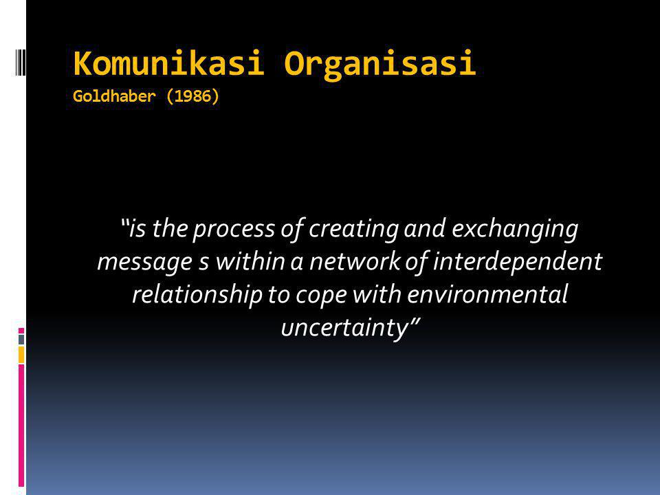 Komunikasi Organisasi Goldhaber (1986) is the process of creating and exchanging message s within a network of interdependent relationship to cope with environmental uncertainty