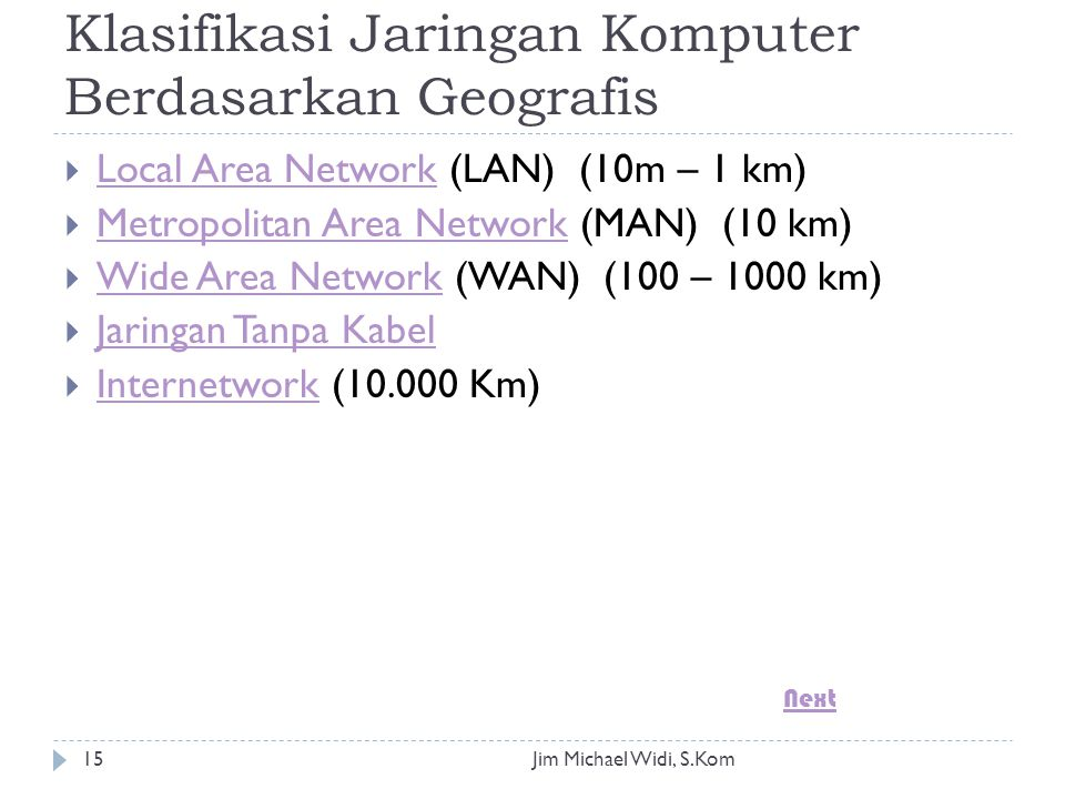 Jim Michael Widi, S.Kom15 Klasifikasi Jaringan Komputer Berdasarkan Geografis  Local Area Network (LAN) (10m – 1 km) Local Area Network  Metropolitan Area Network (MAN) (10 km) Metropolitan Area Network  Wide Area Network (WAN) (100 – 1000 km) Wide Area Network  Jaringan Tanpa Kabel Jaringan Tanpa Kabel  Internetwork ( Km) Internetwork Next