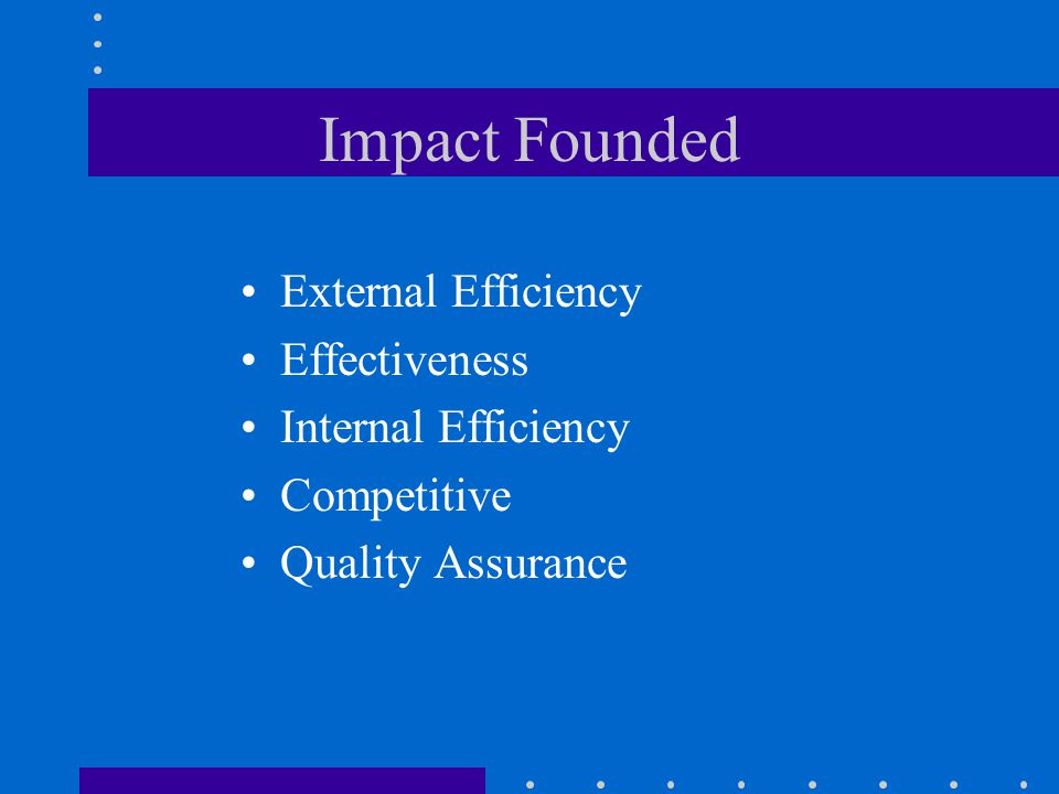 Impact Founded External Efficiency Effectiveness Internal Efficiency Competitive Quality Assurance