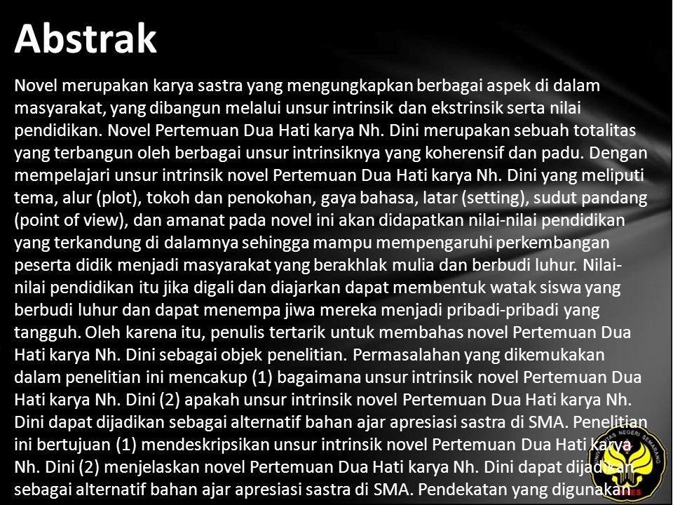 Irma Indrawati Unsur Intrinsik Novel Pertemuan Dua Hati Karya Nh